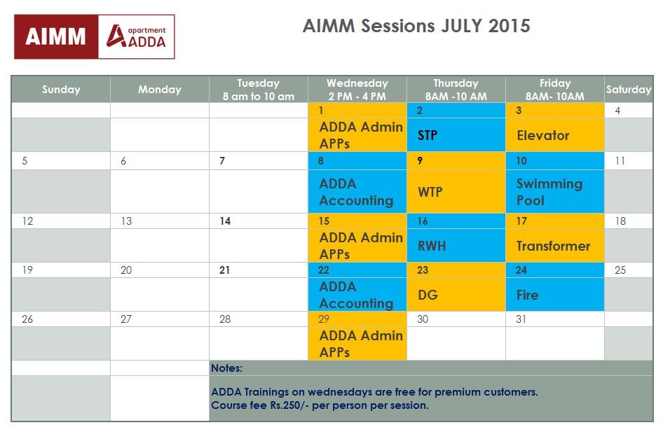 JULY course calendar